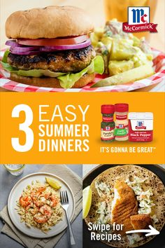 Add shrimp scampi, turkey burgers and fish tacos to your weekly rotation for a taste of summer. The best part? These quick and easy summer dinners are all ready within 30 minutes! Easy Main Dish Recipes, Fish Recipes, Appetizer Recipes, Easy Summer Dinners, Sunday Dinners, Healthy Lunches, Healthy Foods, Healthy Recipes, Meal Ideas