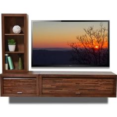 tv wall panel with shelves