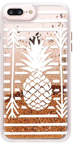 Casetify iPhone 7 Plus Glitter Case - Modern white arrows atripes pineapple illustration by Girly Trend by Girly Trend #Casetify
