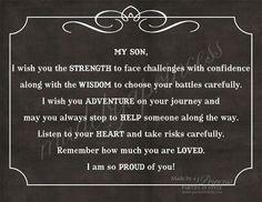 My Son, I Wish You Strength, Wisdom,