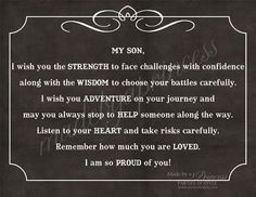 My Son, I Wish You Strength, Wisdom,