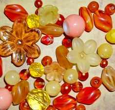 designer bead mix. pink, white, yellow, orange and red beads. Love this color combo! $5.75