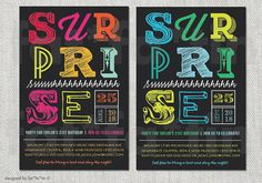 Typography Mix Surprise Milestone Birthday Invitation Adult Party Invite Custom Card Colorful Modern 21st 30th 40th 50th 60th 70th 80th 90th