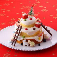 お菓子デコ☆スノーマウンテンケーキ|レシピ・ノート|お菓子百科クラブ - OKASHI HYAKKA CLUB-