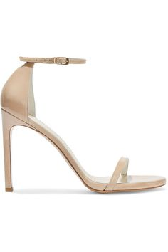 Heel measures approximately 90mm/ 3.5 inches Beige patent-leather Buckle-fastening ankle strap Imported