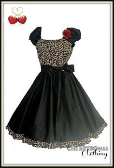Vintage 1950s Style LEOPARD Swing Dress PLUS Sz 18 20 22 Retro Pin Up Wedding