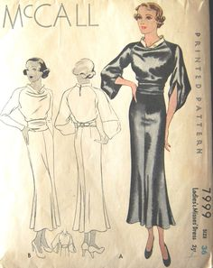 1930s Vintage Sewing Pattern B36 DRESS (1430) #McCall
