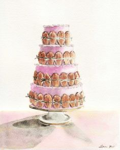 Light Pink Wedding Cake Madeleine ORIGINAL Watercolor Painting 8 x 10 Wedding Cake Bridal Ribbon