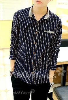 $17.57 Fashion Color Block Stripe Splicing Shirt Collar Long Sleeve Slimming Linen Shirt For Men                                                                                                                                                                                 More