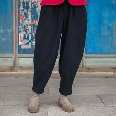 Pockets Elastic Waist Trouser Pants