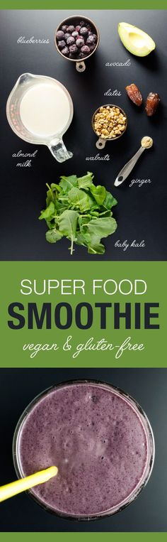 New Year's Superfood Smoothie - recipe is loaded with six superfoods, avocado and dates thicken and sweeten in the place of banana |VeggiePrimer.com