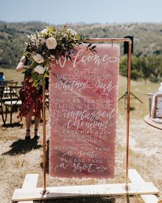 """Unplugged wedding sign that says """"Don't be that guy this will be an unplugged ceremony please put away your cameras and phones, before you take a seat take a shot"""" {Nicola Leigh Photography} Fall Wedding, Dream Wedding, Unplugged Wedding Sign, Tequila Shots, Take A Shot, Wedding Signage, Wedding In The Woods, Industrial Wedding, Event Decor"""