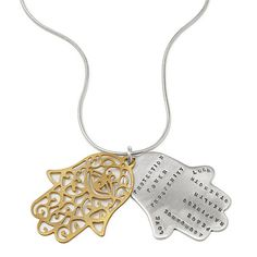A Helping Hand -  Keep good fortune close and adversity far away by wearing this elegant Hamsa necklace. A popular sign of protection and luck throughout the Middle East and parts of Africa, emanates these positive words:   Protection, Power, Prosperity, Love, Abundance, Peace, Happiness, Health, Strength, Luck   Creates an aura of luck and strength. Handmade in California by Kathy Bransfield.