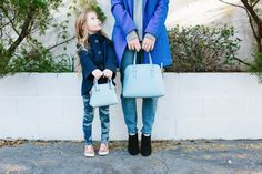 #dresscolorfully @LookLingerLove and her daughter play mini-me with our maise and new mini maise handbags