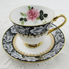 Clarence Black Tea Cup and Saucer with Pink Rose, Vintage Tea Cup, Bone China