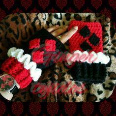 Harley quinn fingerless handmade crochet gloves