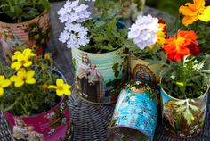 hand-painted tin can planters