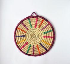 Nubian trivet, Hand woven Coaster (model 120) Handmade Home, Handmade Design, Dates Tree, Tribal Decor, Baskets On Wall, Bold Colors, Handicraft, Wicker, Hand Weaving