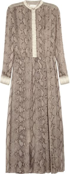 Chloé Snake Print Pleated Silk Georgette Dress in Beige (leopard) -