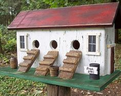 Chicken Coop Hen House Primitive Birdhouse by birdhouseaccents Chicken Coop Decor, Chicken Barn, Chicken Shop, Hen House, Bird Cages, Bird Feathers, Bird Houses, Projects To Try, Birds