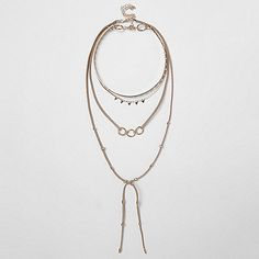 Gold tone layered bolo choker necklace