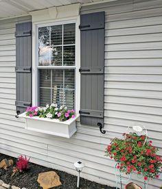 Outside Shutters, Outdoor Window Shutters, Exterior Vinyl Shutters, Exterior Paint, Exterior Design, Types Of Shutters, White Shutters, Diy Shutters, Windows With Shutters