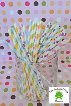 50 Spring Easter Pastel Fun Mix Striped and Dotted Paper Straws Party Straws, via Etsy.