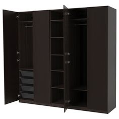 PAX Wardrobe - black-brown, Forsand black-brown stained ash effect. Shop here - IKEA Pax Corner Wardrobe, Ikea Pax Wardrobe, Wardrobe Wall, Open Wardrobe, Wardrobe Storage, Pax System, Plastic Shelves, Plastic Drawers, Dressing Pas Cher Ikea