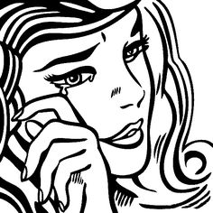 Nice Free Online Coloring Pages   TheColor. Roy Lichtenstein, Crying Girl.
