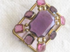 Amethyst Pink Glass Brooch ~ 1920's Art Deco ~ Open Back Setting ~ Vintage Unsigned Pin ~ Classic Jewelry - Bling Jewelry ~ FREE SHIPPING ~