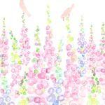 お花畑と小鳥