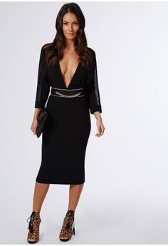 Cilla Crepe Bat Wing Midi Dress Black - Dresses - Midi Dresses - Missguided