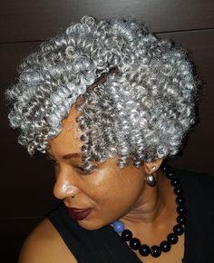 Grey Hair Braids, Grey Curly Hair, Short Grey Hair, Curly Hair Styles, Crochet Braids Hairstyles, Twist Hairstyles, Gray Hairstyles, Black And Grey Hair, Silver Grey Hair