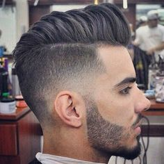 Elvis was the King of the and and today is pompadour hairstyle is King again. Guys are rocking the pompadour combined with a wicked fade to Pompadour Fade Haircut, Undercut Fade Hairstyle, Fade Haircut Styles, Pompadour Men, Modern Pompadour, Low Fade Haircut, Asian Men Hairstyle, Short Hair Styles, Mens Hairstyles Blonde
