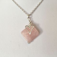Rose Quartz Heart Charm Necklace, Sterling Silver Heart Pendant, Rose Quartz Jewellery, Pink Jewellery Gift For Her, Pink Diamond Shape by MairiJewellery on Etsy