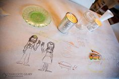 Why not have a table just for your most special guests - the children? Create a table covered in paper and supply crayons for the littlest guests to draw on throughout the wedding reception.