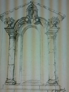 Adumbratio ad aedicule externus in trompe l'oeil. Mural Painting, Architecture Details, Exterior, Outdoor Structures, Artist, Inspiration, Mexican, Facades, Deceit