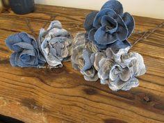 Denim & Lace Flowers, Fabric Flower Centerpiece, Baby Shower Decor, Handmade Flower Bouquet, Wedding Centerpiece, Wreath Florals, Denim Lace