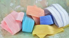 Elastic Fold Over Stretch Ribbon  Pastel Hair Ties by MarySupplies, $1.75