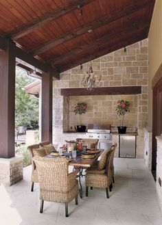 This is an attainable version of a porch with an outdoor kitchen. Like everything from the pitch of the roof to the materials. If I could have a back porch of this width and maybe twice the length that the pic shows, I would be happy. - rugged-life.com