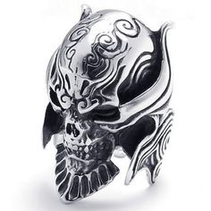 """KONOV Large Biker Men's Gothic Casted Skull Stainless Steel Ring, Black Silver Including one velvet bag printed brand name """"KONOV"""" on it. Color: Black & Silver Width: Available sizes: Gothic Jewelry, Metal Jewelry, Vintage Jewelry, Jewelry Model, Skull Jewelry, Diamond Jewelry, Mens Jewellery, Eye Jewelry, Silver Jewellery"""