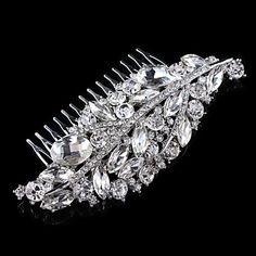 Vintage Wedding Party Bridal Bridesmaid Round Diamond Drop Crystal Leaf Hair Comb For Women 3163078 2016 – $9.99