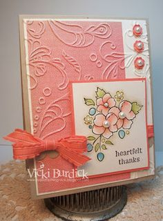 """""""Vicki Burdick, It's a Stamp Thing, Stampin' Up!, Bordering on Romance"""" Beautiful colors - any sentiment Cool Cards, Diy Cards, Embossed Cards, Stamping Up Cards, Copics, Sympathy Cards, Flower Cards, Creative Cards, Greeting Cards Handmade"""