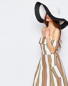 1939b3a2044 ASOS Oversized Straw Hat In Ombre Space Dye at asos.com