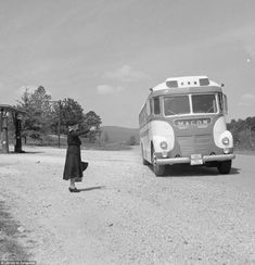 A woman hails a Macon-bound bus on a gravel highway in Georgia. In 1956 Bubley was hired by Pepsi-Cola International to cover Latin America for their company magazine Panorama. In the mid-1960s, Pan American World Airways sent her on two world tours to capture images for their corporate photographic library