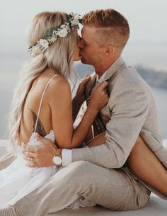 Destination wedding in Greece featuring a custom flower crown with eucalyptus leaves, olive leaves, garden roses and babies breath by Love Sparkle Pretty http://lovesparklepretty.com/shop/emilycrown. Photo by Jordan Voth.  Boho couple. Romantic kiss