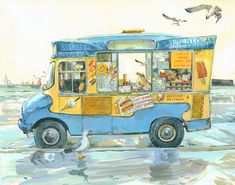 Illustrating and painting since Claire Fletcher lives and works in Hastings. Ice Cream Art, Royal College Of Art, Fairytale Art, Art Journal Pages, Beach Art, New Art, Watercolor Art, Art For Kids, Paper Art
