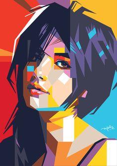 bleistift Emma Roberts by laksanardie. Illustration Pop Art, Portrait Illustration, Pop Art Portraits, Portrait Art, Pop Art Poster, Polygon Art, Cubism Art, Anime Comics, Picasso