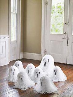 DIY Tissue Paper Ghosts