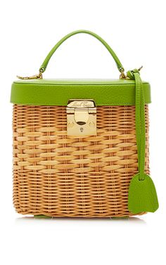 Petal Green Pebble Grain Benchley Rattan Bag by MARK CROSS for Preorder on Moda…